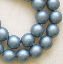 8mm Round Czech Glass Beads Blue Satin - 25